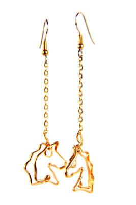 Horse heads on chain, gold filled, $$64.0000