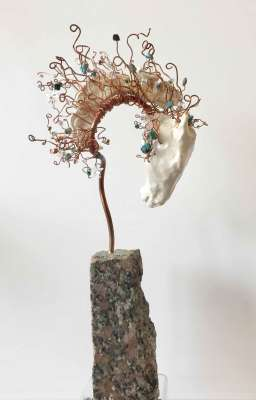 "Flamboyant, Clay, copper, granite, 15"" x 6"" x 4"", $$750.0000"