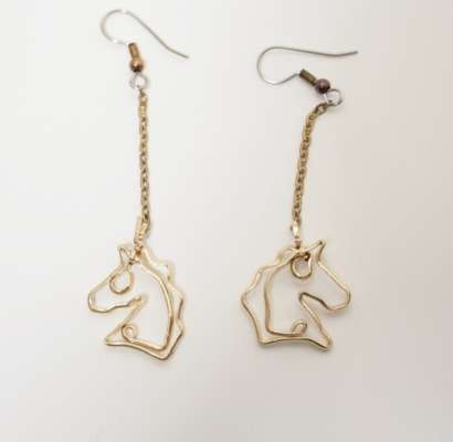 Horse heads on chain with surgical steel ear wire, $$75.0000
